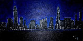 hans wolf artwork manhattan skyline at night original painting acrylic cityscape art