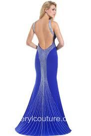 mermaid open back royal blue chiffon beaded long prom dress with