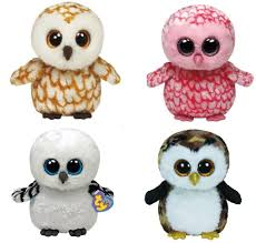 ty swoops pinky owliver spells owls 4 beanie boos stuffed