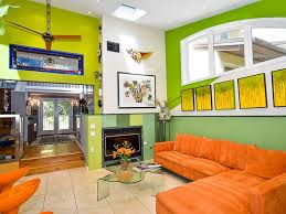 bright green living room with orange furniture home styling
