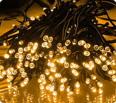 100 warm white led solar powered string lights on green cable