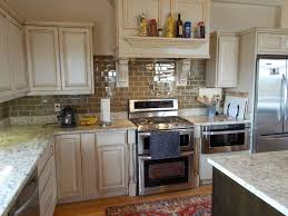 two tone modern kitchen cabinets white wall pinted glass accent
