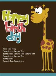 birthday card with giraffe vector vector free download