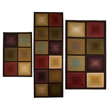 Overstock Com Rugs Runners Optic Squares 3 Piece Rug Set Free Shipping On Orders Over 45