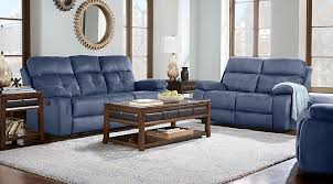 blue living room set corinne blue 3 pc living room with reclining sofa living room sets
