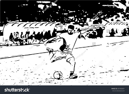 drawing sketch football soccer player kicking stock vector