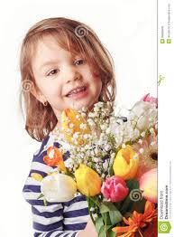 cute child holding fresh spring flowers stock photo image 39036945