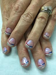 simple silver glitter patriotic 4th of july french gel nails all