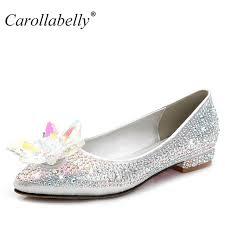 wedding shoes flats 2017 new crystle cinderella shoes rhinestone flat heel women shoes
