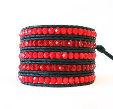 red bead bracelet images Red beaded leather wrap bracelet onsra designer bracelets jpg