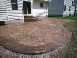 Backyard Concrete Patio Ideas by Stained Concrete Patio With Border Patio Pinterest Patio