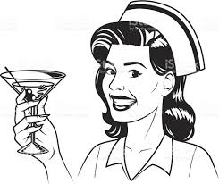 martini woman retro nurse with martini stock vector art 467657071 istock