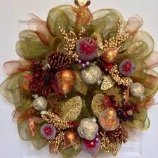 fully decorated sugar fruit wreath with acorns deco mesh