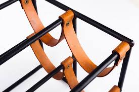 vintage wine rack by arthur umanoff for raymor in leather straps