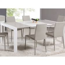 Extendable Dining Room Table And Chairs Chintaly Lacquer Parson Extendable Dining Table In Whitegrey