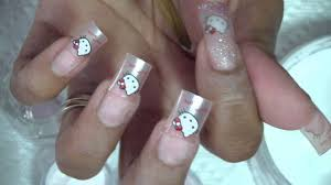 acrylic nail design using hello kitty tips and supernail review