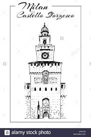 milan symbols teatro alla scala sforza castle or castello stock