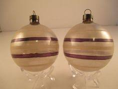 shiny brite plain and fancy post wwii 4 striped ornaments