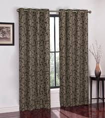 Black Window Valance Colormate Flocked Scroll Grommet Window Panel