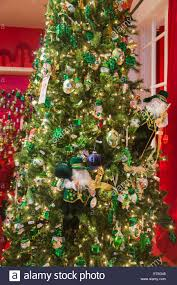 festive green and gold christmas decorations with an irish theme