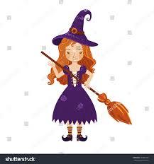 cute cartoon illustration little witch stock vector 325009184