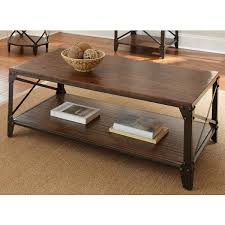 Rustic Brown Coffee Table Windham Solid Birch And Iron Rustic Coffee Table By Greyson Living