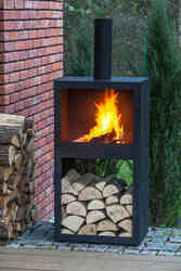 Steel Chiminea Black Steel Chiminea With Grill Bbq Chimenia Outdoor Log Burner