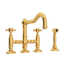 bridge kitchen faucet shop rohl country kitchen inca brass 2 handle deck mount bridge