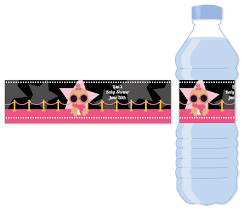 a star is born hollywood black pink water bottle label baby