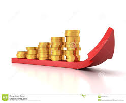 growing chart gold bar with growing chart graph and red arrow stock illustration