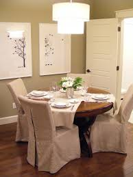 dining room skirted brown fabric dining room chair slipcover with