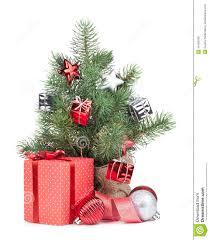 small christmas tree with decor and gift box royalty free stock