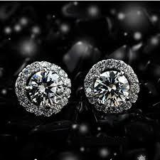 aliexpress buy 2ct brilliant simulate diamond men excellent 14k white gold earrings 1ct cut halo