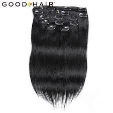most popular hair vendor aliexpress good hair clip in human hair extensions natural black 7 pieces set