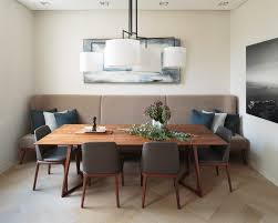 built in dining table dining room contemporary with beige bench