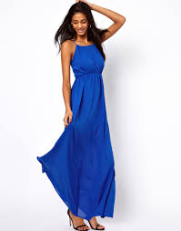 blue maxi dress asos collection maxi dress with keyhole detail in blue lyst