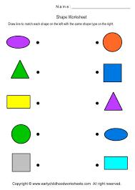 matching shapes worksheets for preschool and kindergarten