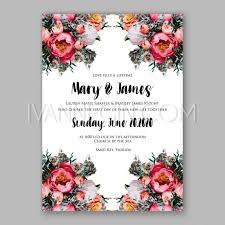 peony wedding invitation printable template with floral wreath or