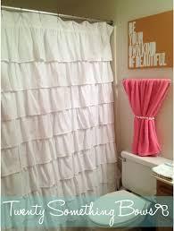 Ruffled Pink Curtains Bathroom Clear Shower Curtains White Ruffle Shower Curtain