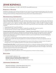 Banking Resume Examples by Personal Banker Resume Jvwithmenow Com