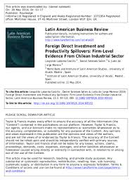 foreign direct investment and productivity spillovers firm level evi u2026