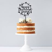 birthday cake topper personalised floral birthday cake topper by