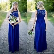 long royal blue beach country style bridesmaid dresses sheer