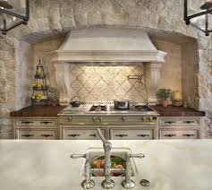 rustic kitchen backsplash transitional with recessed lights