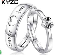 couples rings heart images Zhiwen 925 sterling silver couple promise rings puzzle jpg