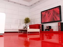 Red L Shaped Vanity Cabinet Having White Leather L Shape Long Sofa Black Finish Varnished