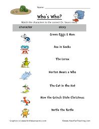 dr seuss matching worksheet have fun teaching