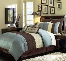 Blue And Brown Bed Sets Legacy Decor 8 Pieces Blue Beige Brown Luxury Stripe