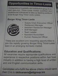 Burger King Job Description Resume by Team Leader Job Burger King Timor Leste Job Supply Chain
