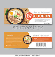 food coupons japanese food coupon discount template flat stock vector 436539610